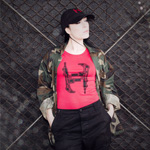 Mr. Hyde - Machine Gun H Logo Form-Fitting Female Tee Black on Candy Red - $19.99